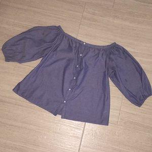 Denim cotton Merona shirt off or on shoulder